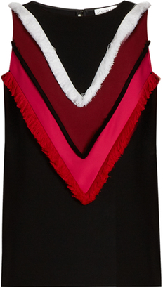Cezanne fringe-trimmed sleeveless cady top