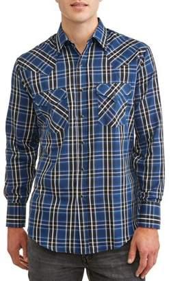Plains Big And Tall Men's Long Sleeve Textured Plaid Western Shirt