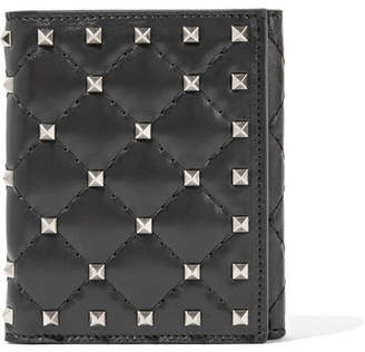Valentino Garavani The Rockstud Spike Quilted Leather Wallet - Black