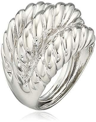 Kenneth Jay Lane Polished Silver-Tone 3-Twist Ring