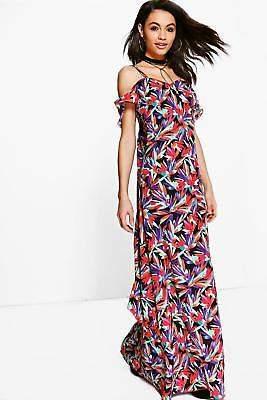 Damen Neve Maxikleid mit rückseitigen Rüschen und tropischem Print in