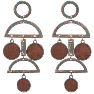 Natasha Accessories Bezel Set Wood Drop Earrings