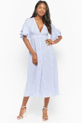 Forever 21 Striped Button-Front Maxi Dress