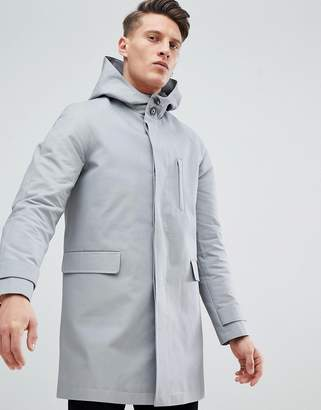 Asos DESIGN hooded trench coat with shower resistance in gray
