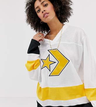 Converse Oversized Hockey Jersey Long Sleeve In White