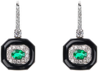 Nikos Koulis Oui 18k White Gold Black Enamel, Emerald & Diamond Drop Earrings