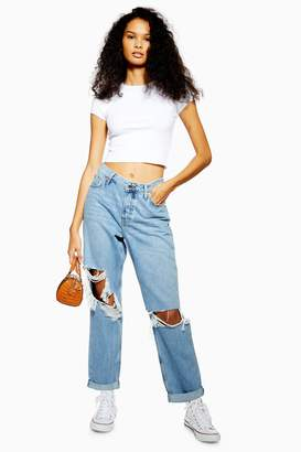 Topshop Womens Petite Super Ripped Hayden Jeans - Bleach Stone