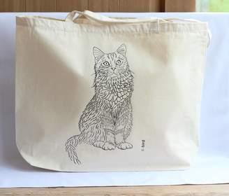 Bird Cat Print Canvas Shopper