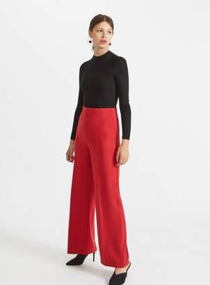 Miss Selfridge Red high waist corset trousers
