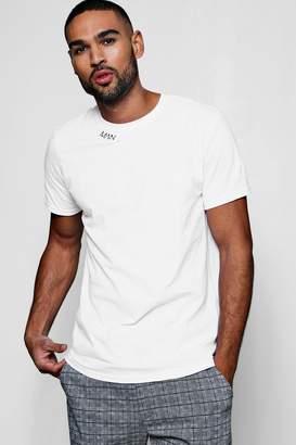 boohoo Original MAN Embroidered Neck T-Shirt