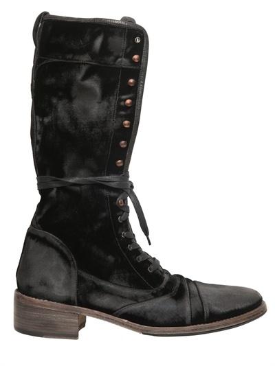 John Varvatos Sand Washed Velvet Lace Up Boots