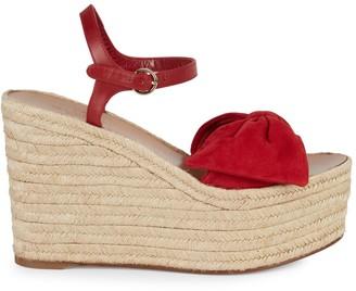 Valentino Suede Bow Espadrille Wedge Sandals