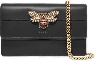 Gucci Queen Margaret Embellished Leather Shoulder Bag - Black