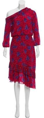 Saloni Silk Off Shoulder Printed Dress w/ Tags