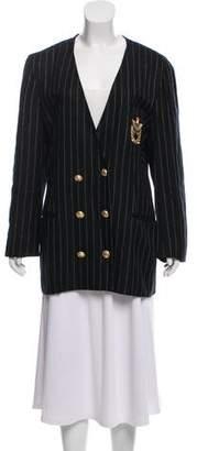 Christian Dior Striped Collarless Blazer