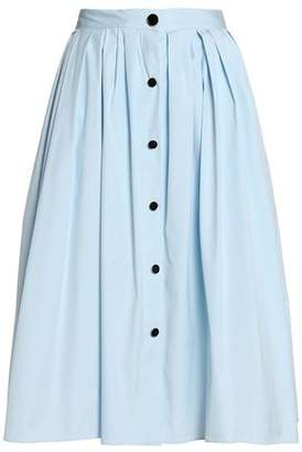 Vionnet Button-Detailed Pleated Cotton-Blend Poplin Skirt