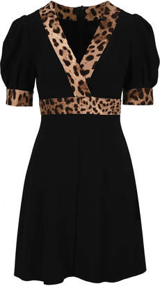Dolce & Gabbana Leopard Print Trimmed Flared Dress