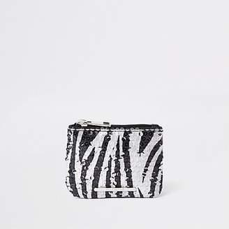 River Island Girls black sequin zebra print zip top purse
