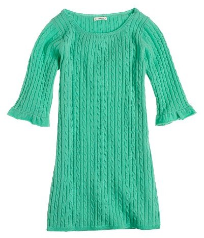 Girls' wool-cashmere cable sweater dress