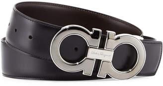 Salvatore Ferragamo Reversible Leather Gancini-Buckle Belt, Black/Brown
