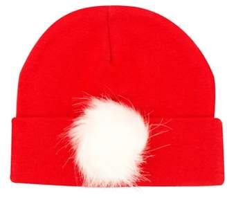 PLH Bows Faux Fur Pompom Knit Hat