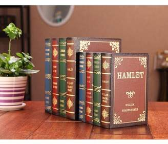 Meigar Wooden Antique Book Box Vintage Decorative Storage Boxes for Girls Women Men Gifts Home Office Collection Shelf Decor