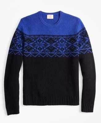 Brooks Brothers Merino Wool-Blend Snowflake Crewneck Sweater