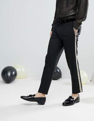 Asos Design Skinny Suit Pants In Black With Gold Brocade Side Stripe