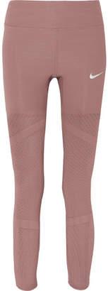 Nike Epic Luna Athena Mesh-paneled Stretch Leggings - Burgundy