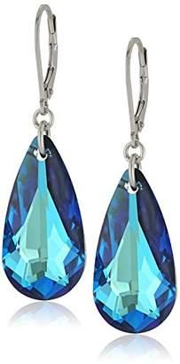 Swarovski Sterling Silver Elements Teardrop Lever Back Earrings