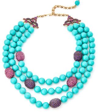 Heidi Daus Turquoise-Tone Multi Strand Beaded Necklace
