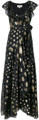 Temperley London leaf print wrap dress