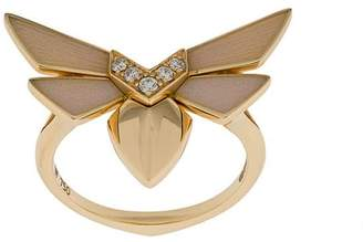 Stephen Webster 18kt yellow gold, diamond and opal winged bug ring