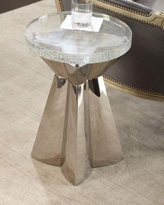 Bernhardt Uma Stainless Steel & Glass Side Table