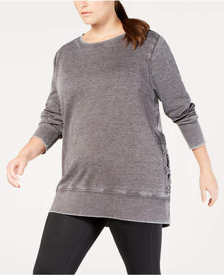 Macy's Ideology Plus Size Crisscross-Sides Burnout Top, Created for