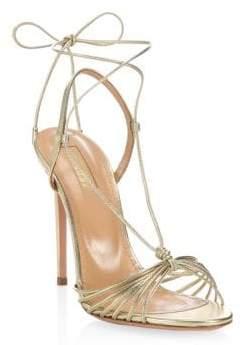 Aquazzura Soft Gold Whisper Sandals