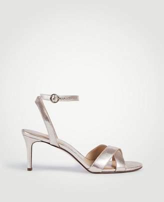 Ann Taylor Judith Metallic Leather Kitten Heeled Sandals