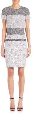 Carolina Herrera White Noise Printed Sheath Dress