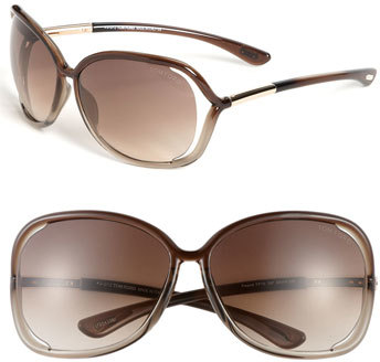 Women's Tom Ford 'Raquel' 63Mm Oversized Open Side Sunglasses - Transparent Bronze