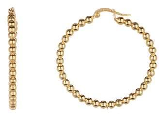Argentovivo 18K Gold Plated Sterling Silver Large Bead Hoop Earrings