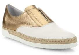 Tod's Leather Espadrille Slip-On Sneakers