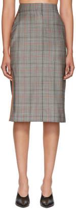 Calvin Klein Black and White Wool Classic Glen Plaid Skirt