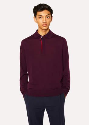Paul Smith Men's Damson Merino Wool Long-Sleeve Polo Shirt