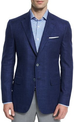 Isaia Gregory Textured Two-Button Sport Coat, Blue $2,995 thestylecure.com