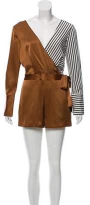 Diane von Furstenberg Silk Long Sleeve Romper