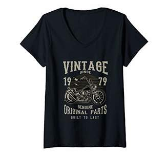Womens 1979 Birthday Retirement Vintage Retro Motorcycle Chopper V-Neck T-Shirt