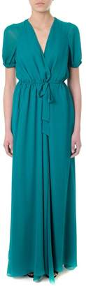 Lanvin (ランバン) - Lanvin Emerald Silk Wrap-style Long Dress