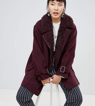 Monki Faux Fur Collar Coat