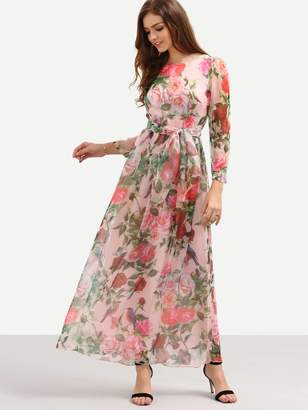 Shein Self-Tie Rose Print Long Sleeve Chiffon Dress - Pink