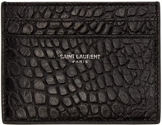 Saint Laurent Black Croc-Embossed Card Holder $245 thestylecure.com